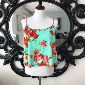 Size M floral mint green drop open back